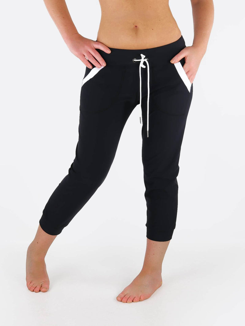 Black White Jogger Pants with Drawstring Waist - Custom Made - Jogger - 1
