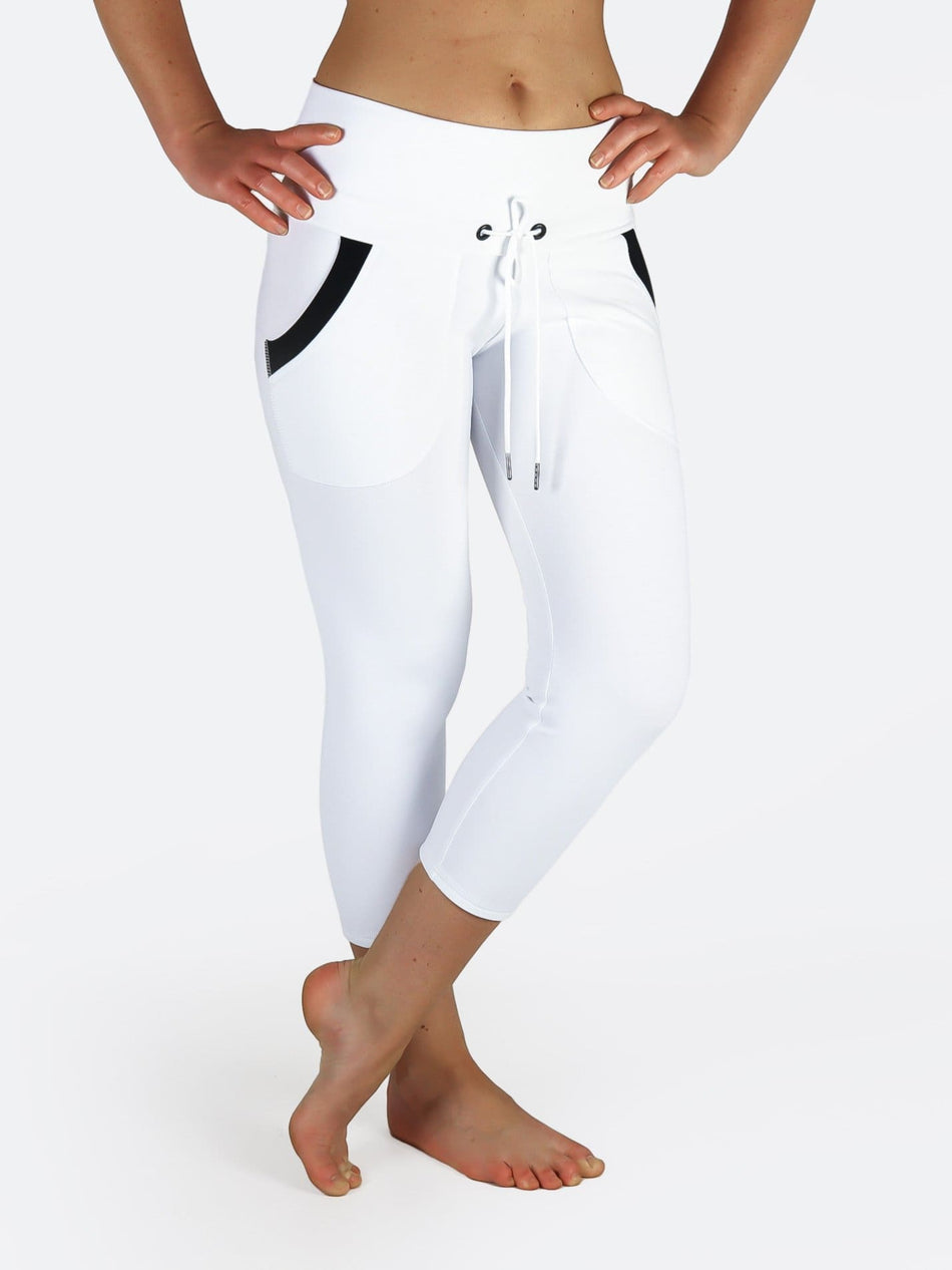 Custom Black White Yoga Pants with Drawstring and Pockets - 7