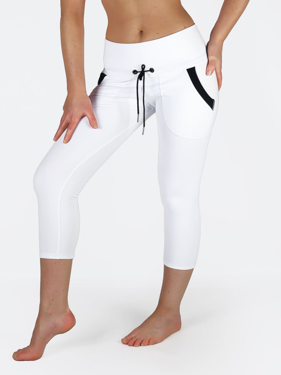 Custom Black White Yoga Pants with Drawstring and Pockets - 4