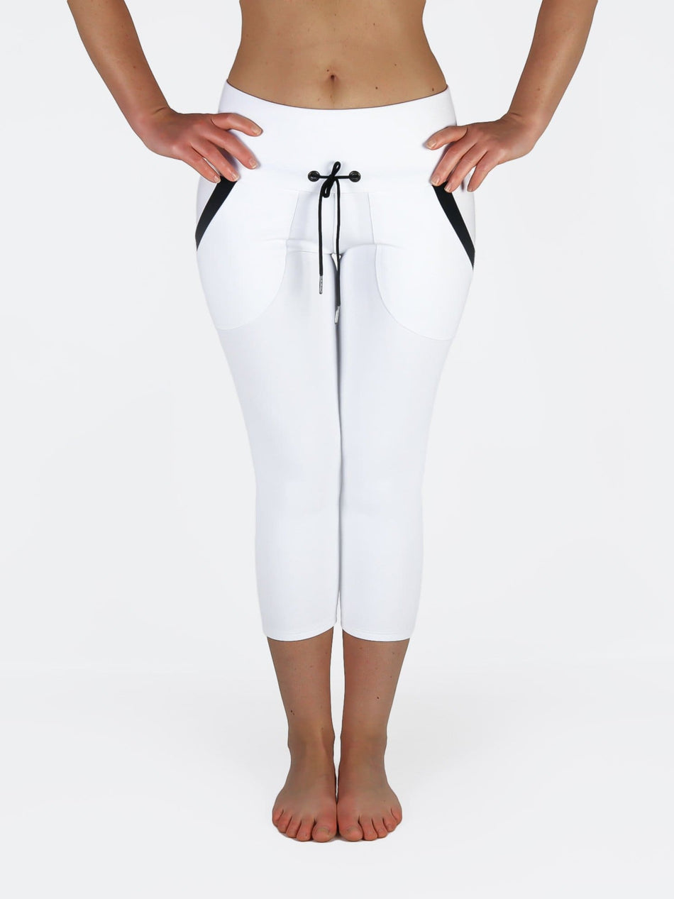 Custom Black White Yoga Pants with Drawstring and Pockets - 3