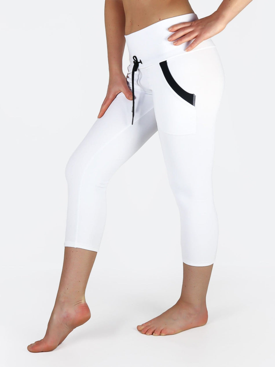 Custom Black White Yoga Pants with Drawstring and Pockets - 5