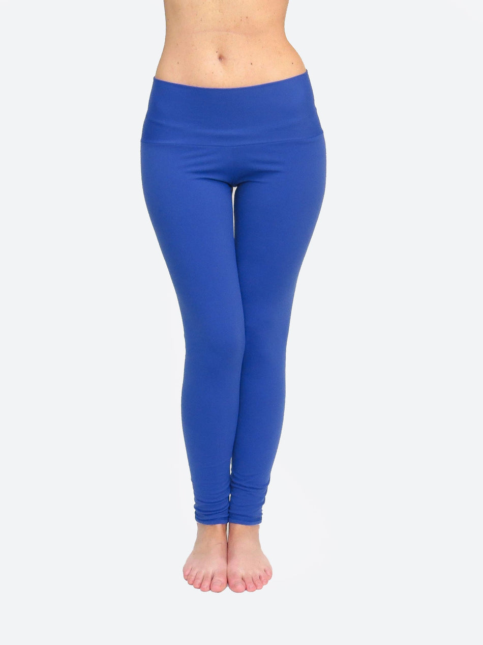 Handmade Custom Long Blue Workout Mid Waist Leggings for Yoga - 1