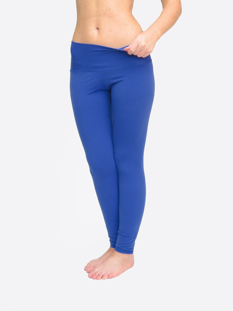 Handmade Custom Long Blue Workout Mid Waist Leggings for Yoga - 2