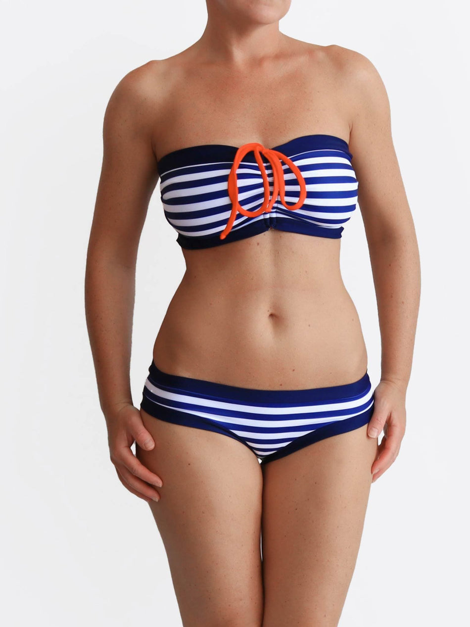 Striped Big Busted Strapless Custom Bra Sized Nautical Style Swimwear - 3
