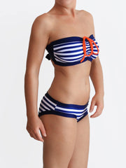 Striped Big Busted Strapless Custom Bra Sized Nautical Style Swimwear - 2