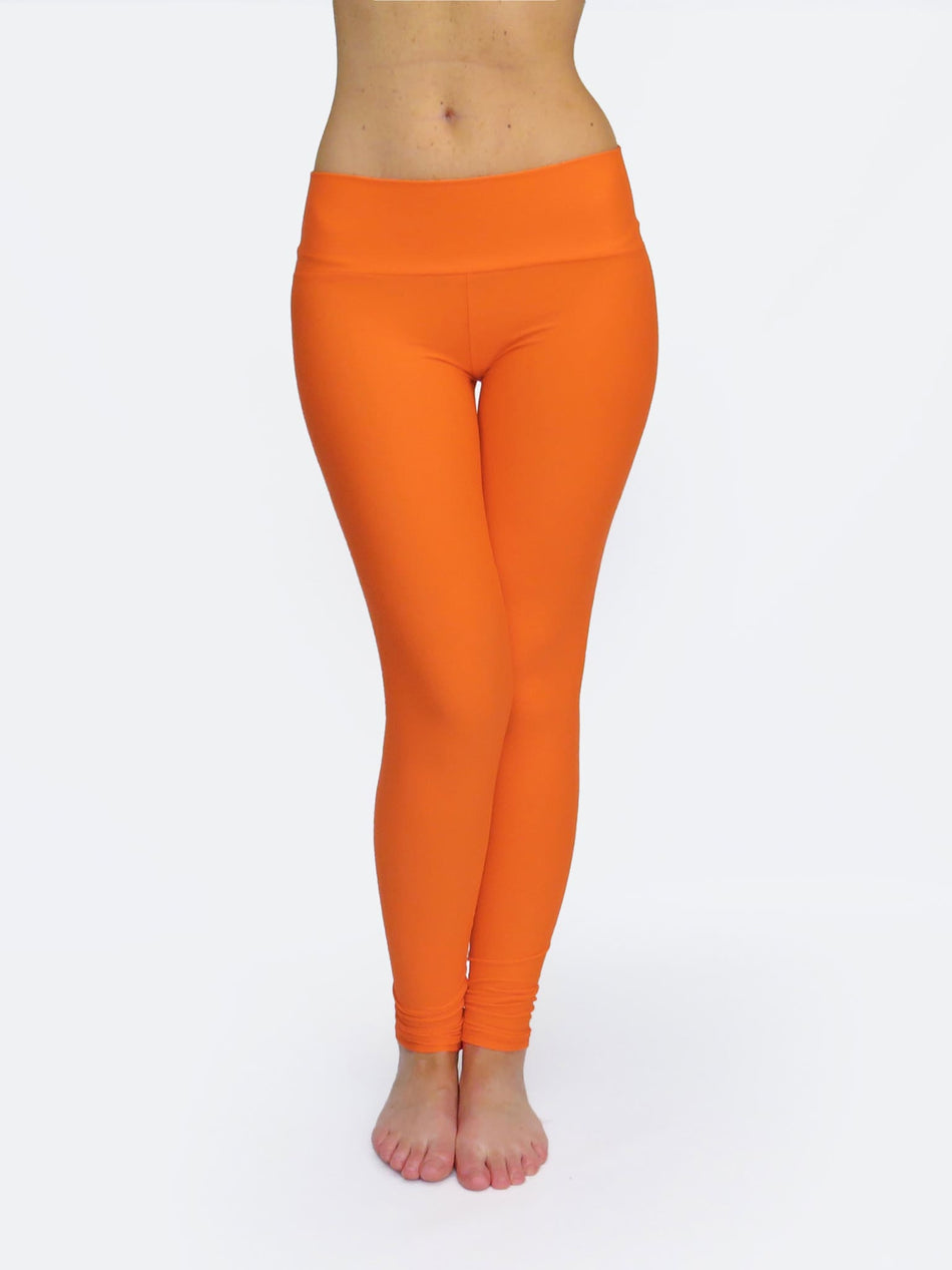 Handmade Bright Orange Yoga Pants Tights with Low Waist - 1