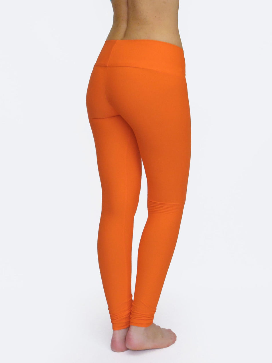 Handmade Bright Orange Yoga Pants Tights with Low Waist - 5