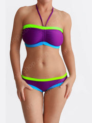 Purple Boho Style Boutique Custom Colorful DDD Bra Sized Swimwear - 2