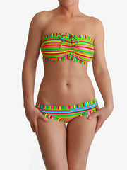 Big Cup Handmade Striped Bra Sized Strapless Colorful DDD Plus Bikini - 1