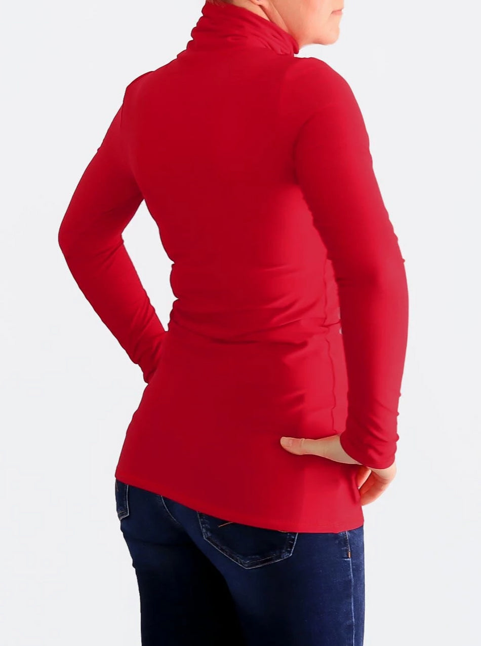 Stretch Customisable Extra Long Basic Red Slim Fit Turtleneck Shirt - 5