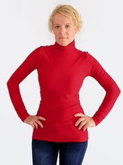 Stretch Customisable Extra Long Basic Red Slim Fit Turtleneck Shirt - 1