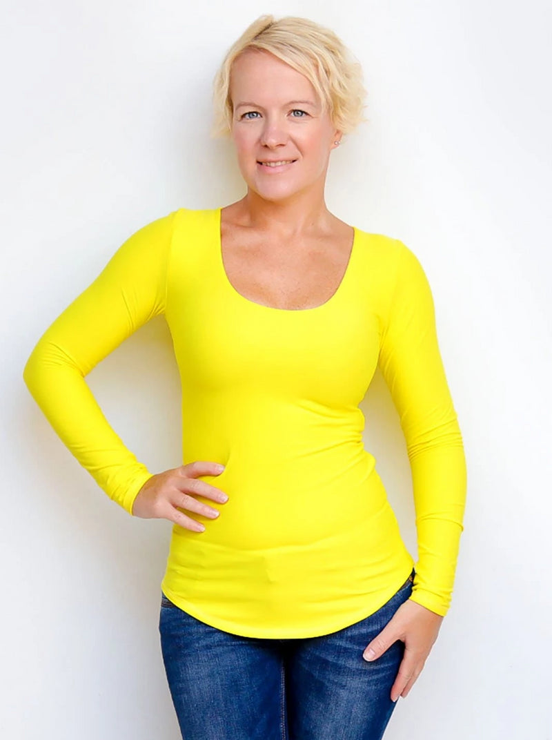 Bright Yellow Fitted Every Day Extra Long Scoop Neck Top - 3