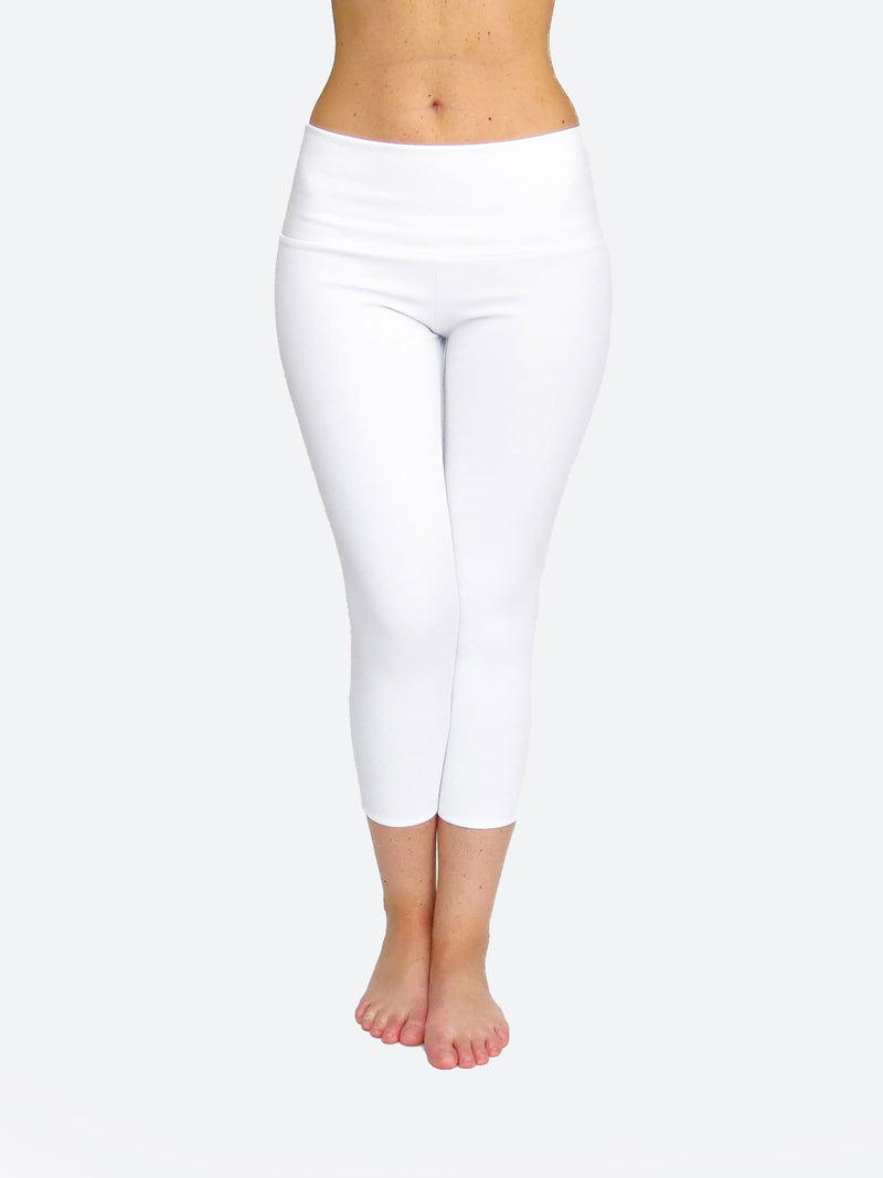 Handmade Custom Running Gym Mid Waist Capri White Leggings - 1