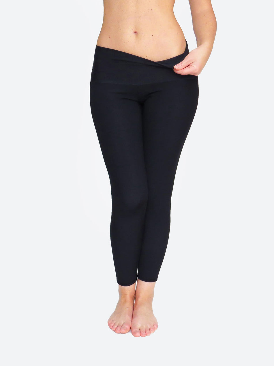 Compression Custom Ankle Mid Waisted Long Black Workout Pants - 1