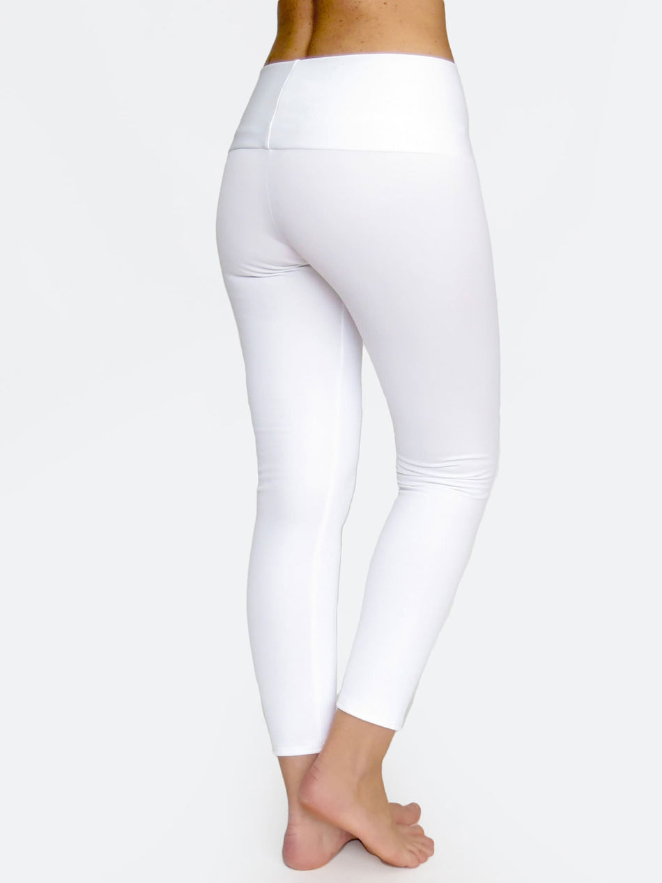 Custom Mid Waisted White Crop Workout Pants Leggings - 3