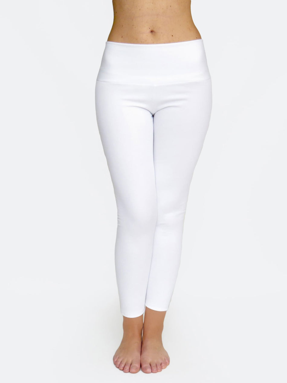 Custom Mid Waisted White Crop Workout Pants Leggings - 5