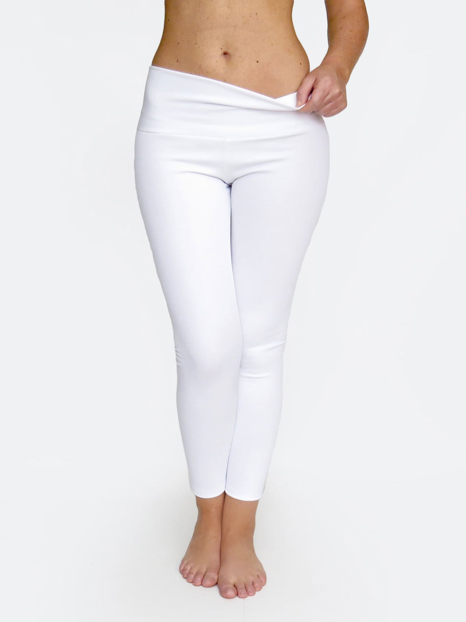 Custom Mid Waisted White Crop Workout Pants Leggings - 1