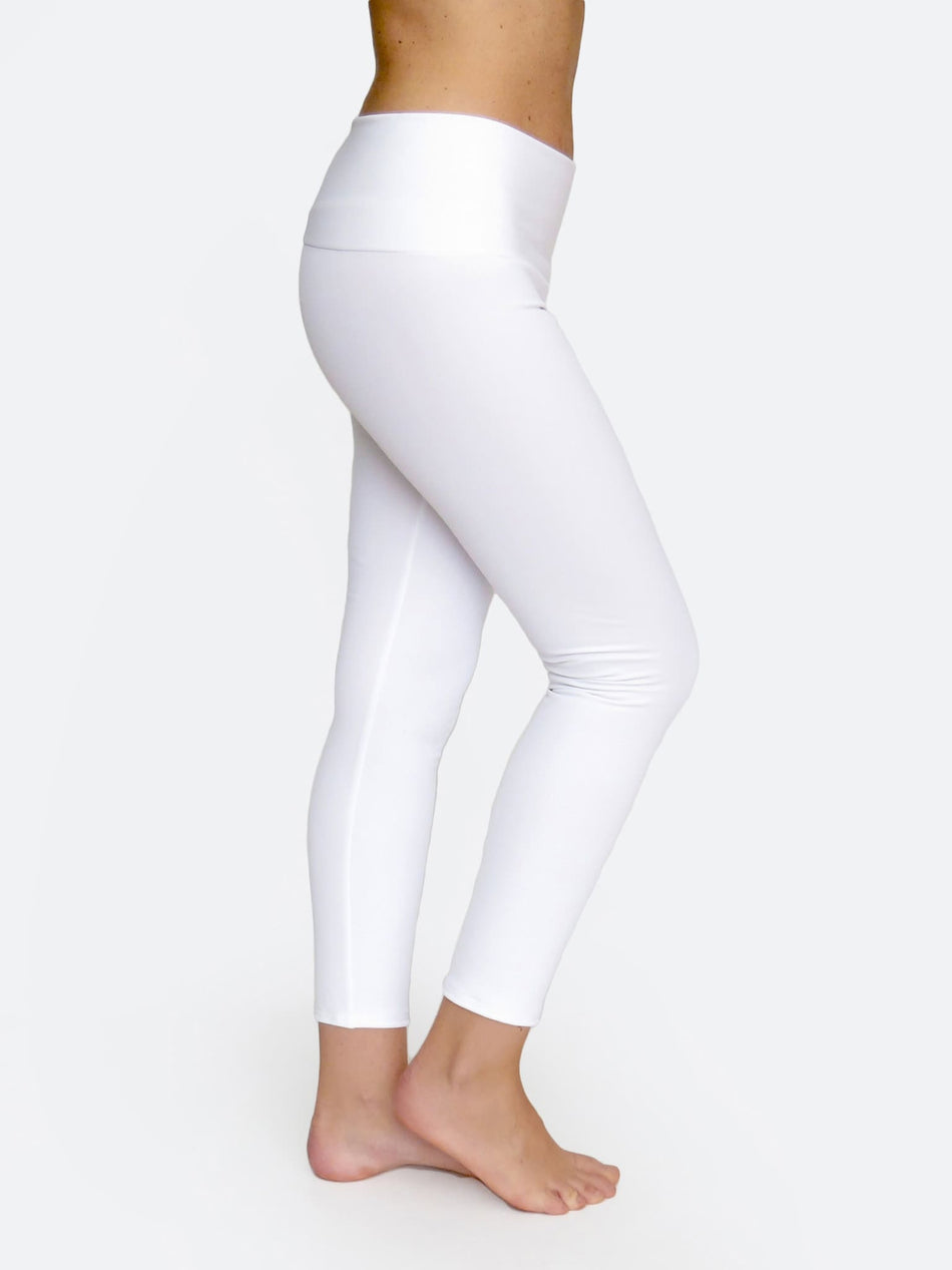 Custom Mid Waisted White Crop Workout Pants Leggings - 2