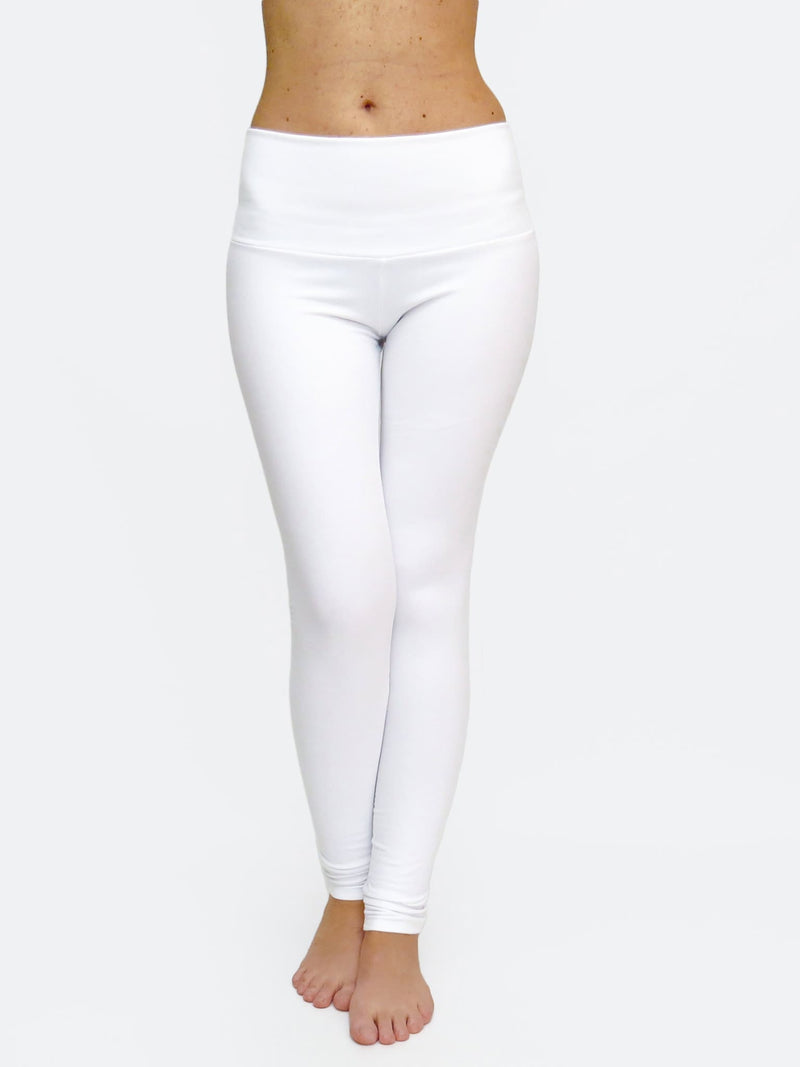 Custom Mid Waited White Womens Long White Leggings for Yoga - 1