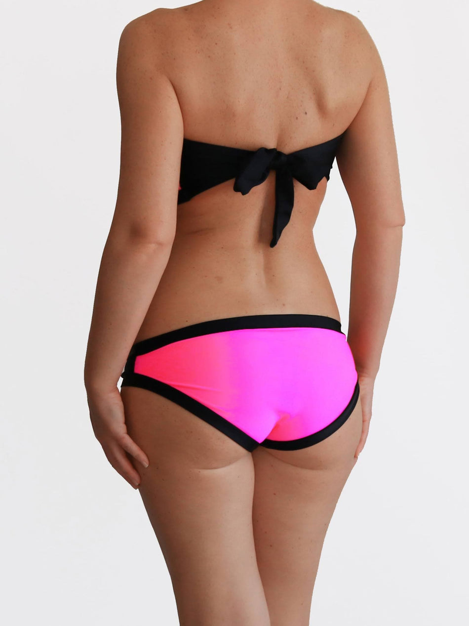 DD+ Bandeau Black and Neon Pink Full Coverage Big Bust Swimwear - 4