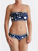 DD+ Custom Strapless Bandeau Pin Up Polka Dot Big Bust Swimwear- 3