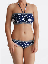 DD+ Custom Strapless Bandeau Pin Up Polka Dot Big Bust Swimwear- 2