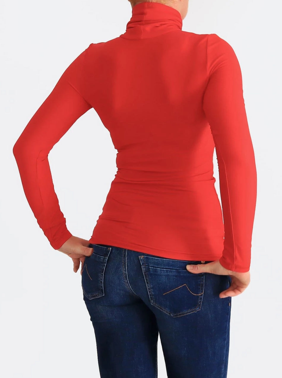Women's Custom Stretch Red Slim Fit Turtleneck Shirt for Every Day - 4