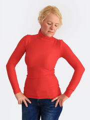 Women's Custom Stretch Red Slim Fit Turtleneck Shirt for Every Day - 1
