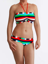 Supportive Large Bust Striped Retro Bra Sized Multicolor Striped Bikini - 2