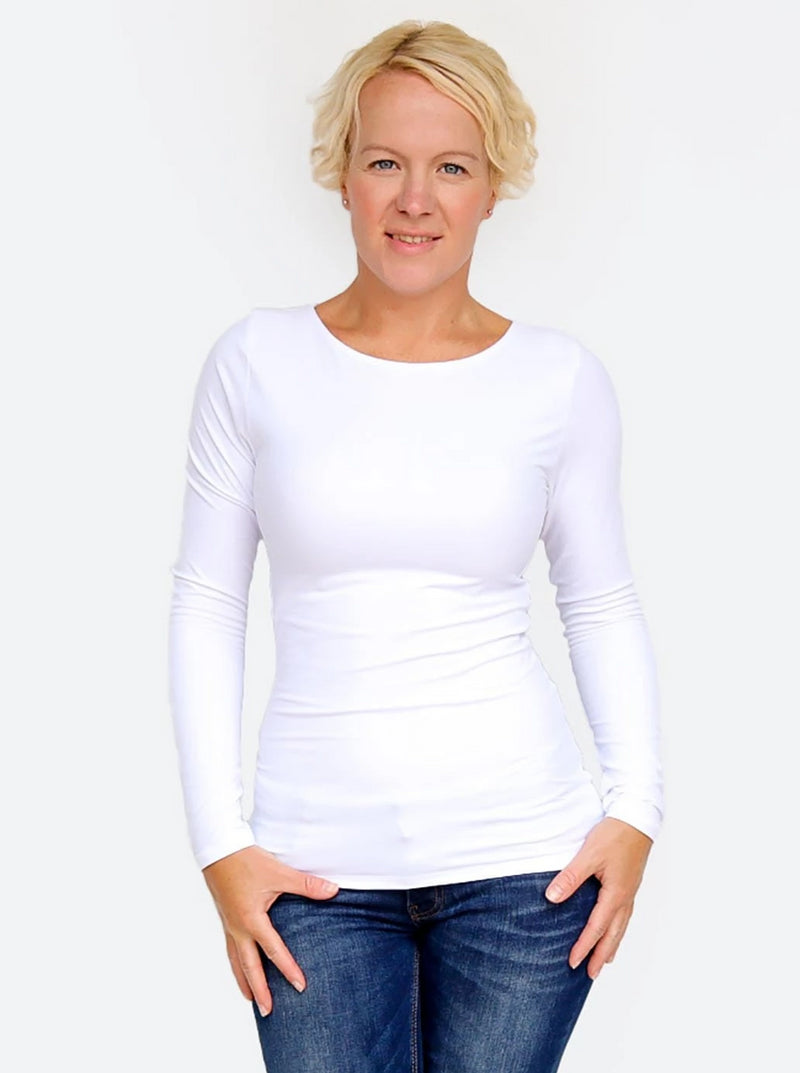 Fitted Basic Urban Round Neck Casual White Tops for Ladies - 2