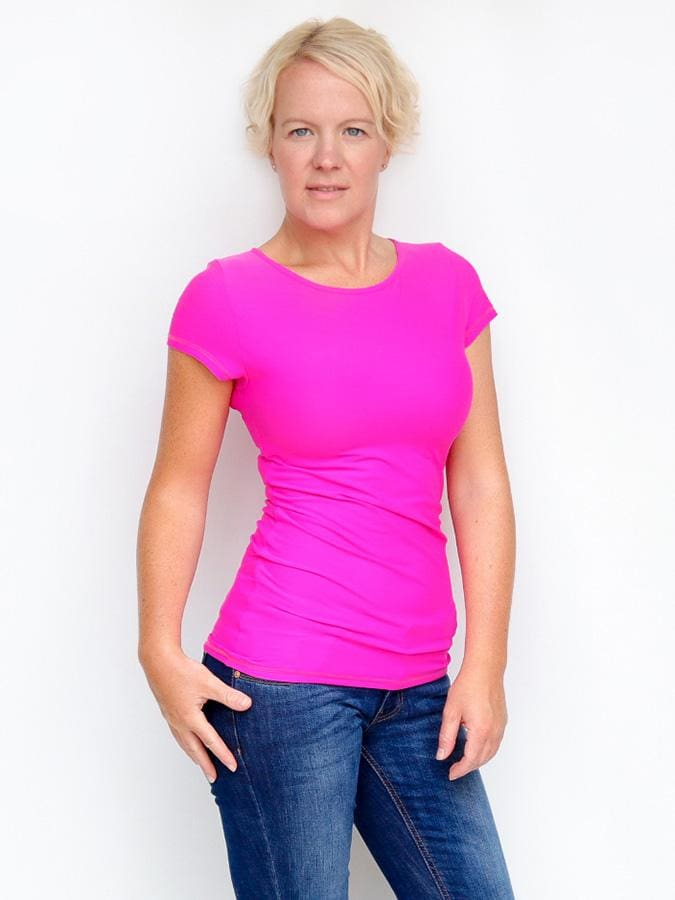 Women's Slim Fit Short Sleeve Basic Bright Pink Summer Top - 1