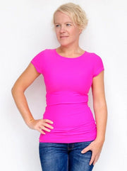 Women's Slim Fit Short Sleeve Basic Bright Pink Summer Top - 2
