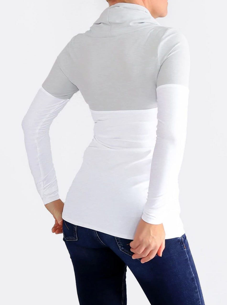 Slim Fit Women's Skinny Cowl Neck Extra Long Top with Strings - 4