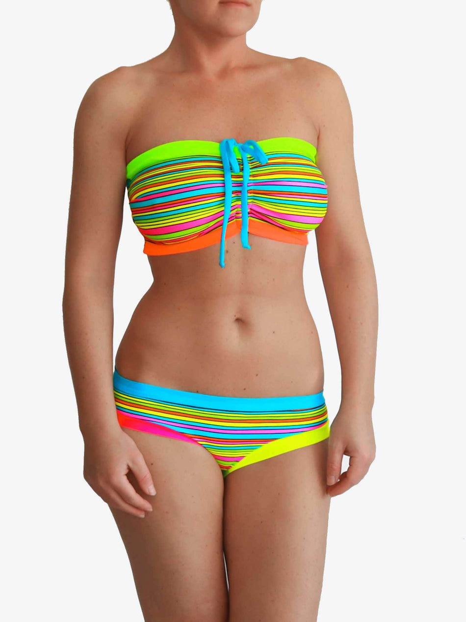 Bra Sized Strapless DD+ Colorful Striped Bandeau Bikini Set for Big Bust - 1