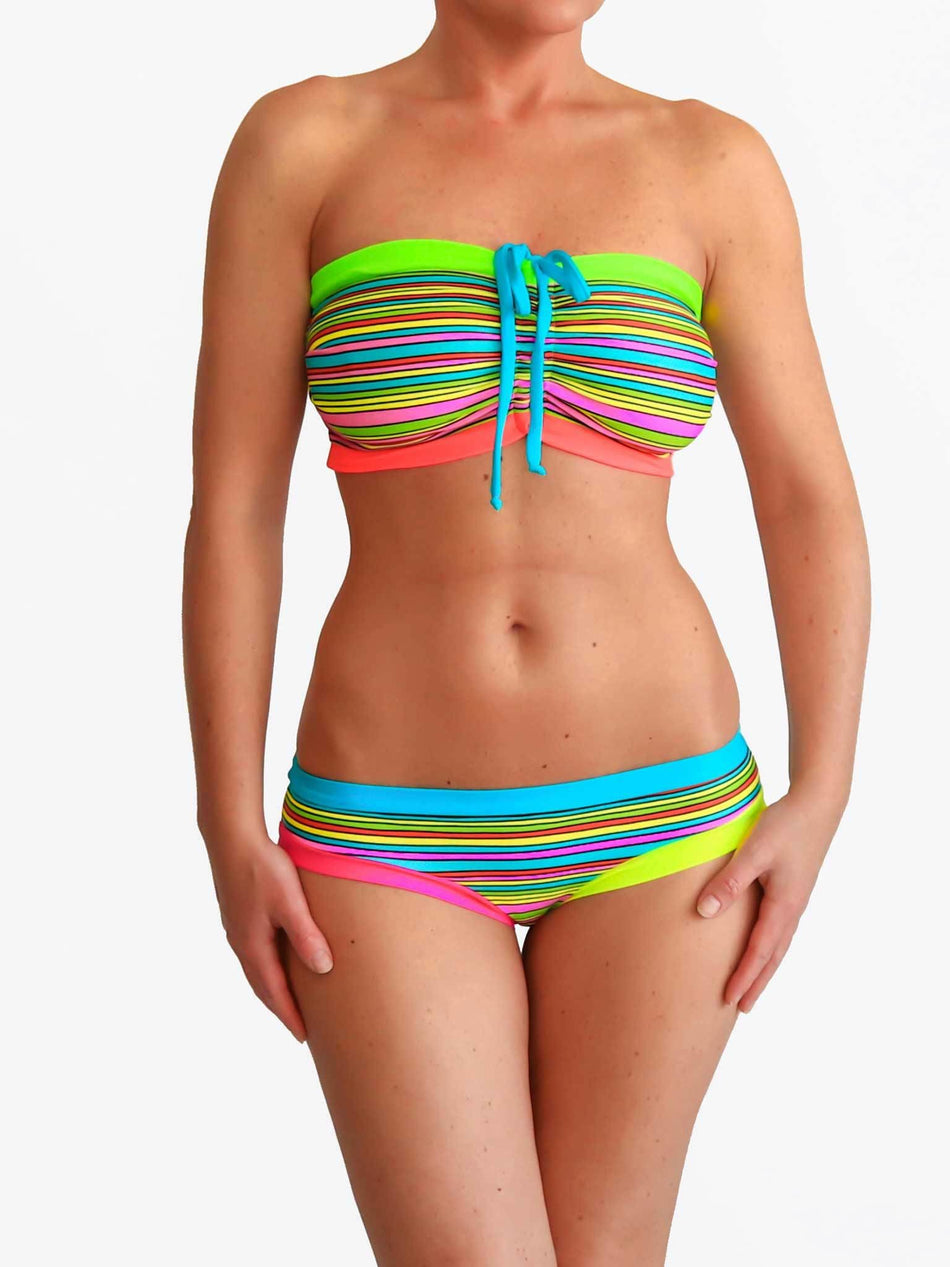 Bra Sized Strapless DD+ Colorful Striped Bandeau Bikini Set for Big Bust - 5