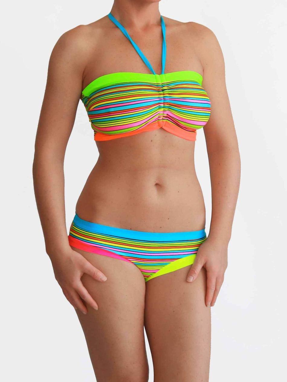 Bra Sized Strapless DD+ Colorful Striped Bandeau Bikini Set for Big Bust - 2