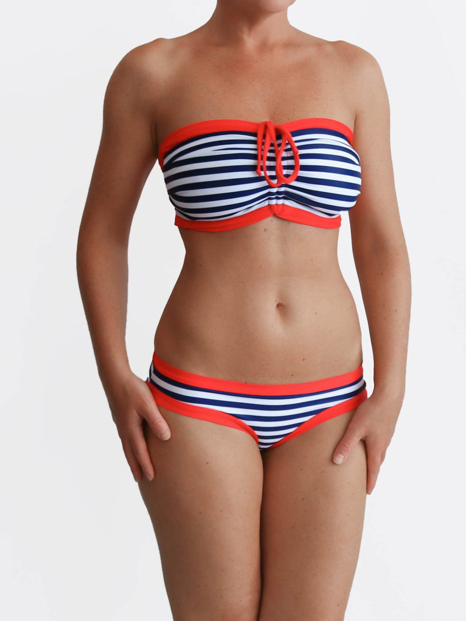 Custom Nautical Full Supportive Navy Red Striped DD+ Sailor Bikini Set - 3