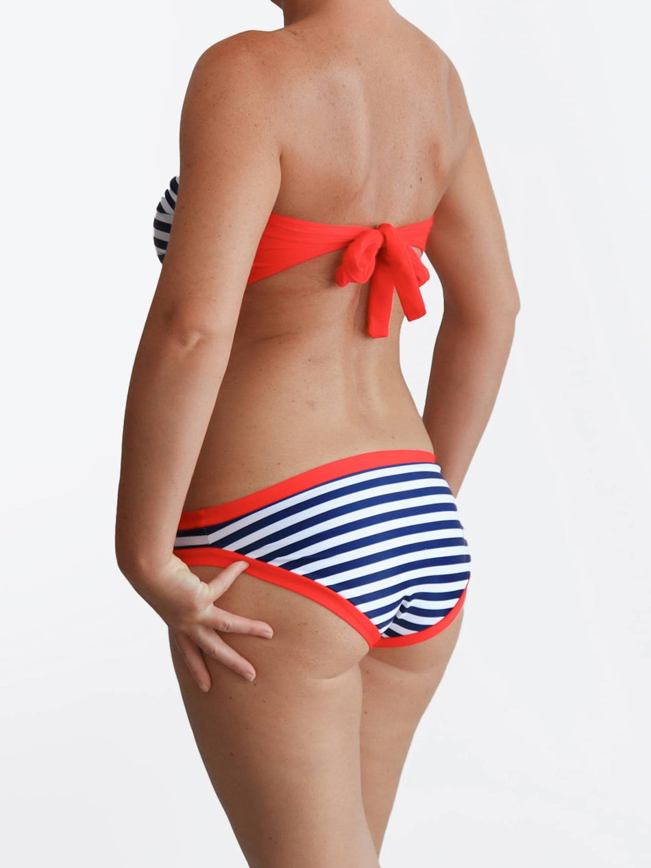 Custom Nautical Full Supportive Navy Red Striped DD+ Sailor Bikini Set - 4