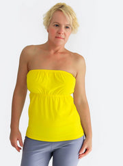 Sexy Handmade Strapless Summer Yellow Bandeau Ruffle Top - 2