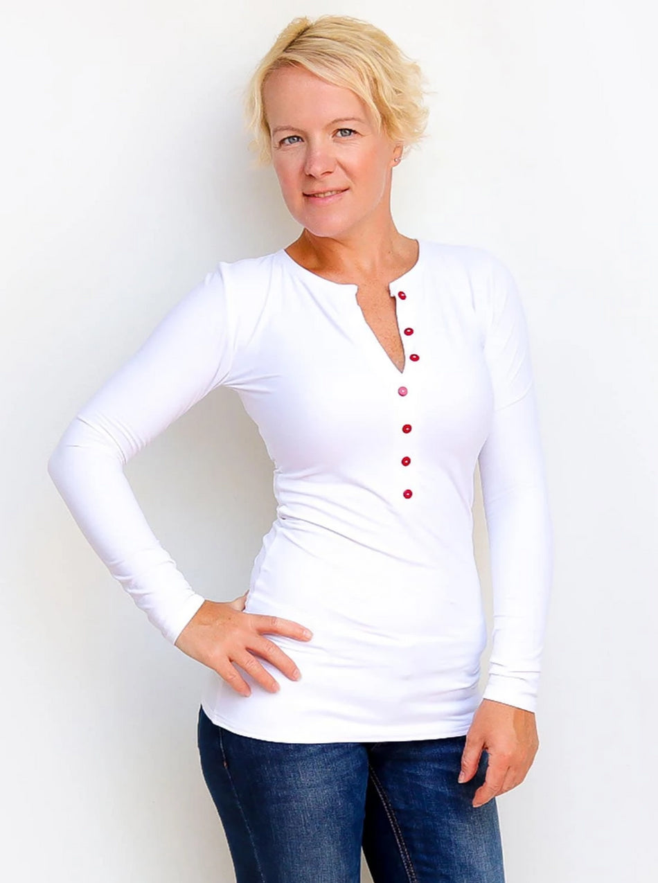 Fitted Custom Long White Baseball Henley Women's Shirt with Buttons - 4