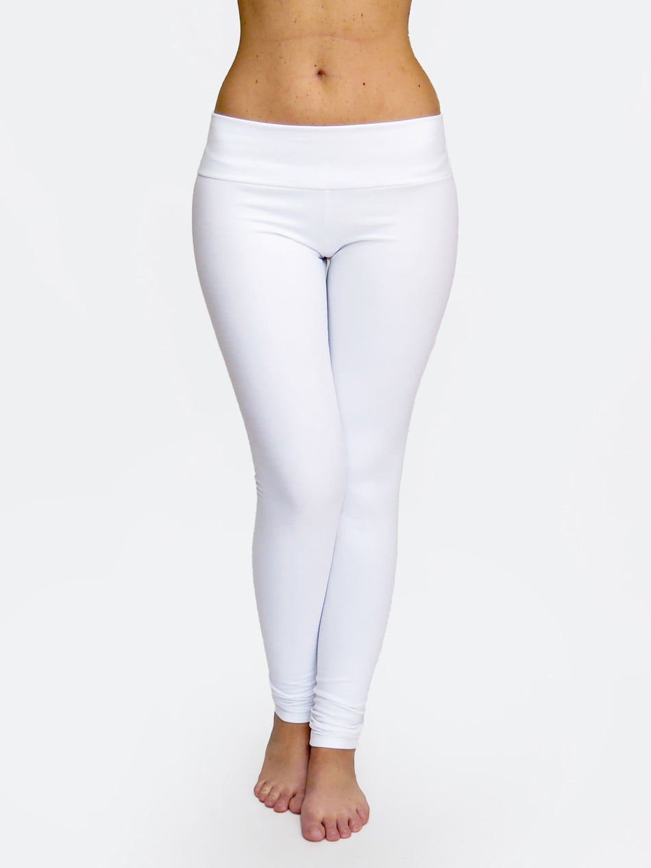 Fitness Custom White Low Waist Yoga Leggings and Dance Pants - 1