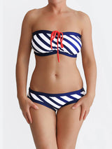Customisable G Cup Striped White Nautical Swimwear for Large Bust - 1