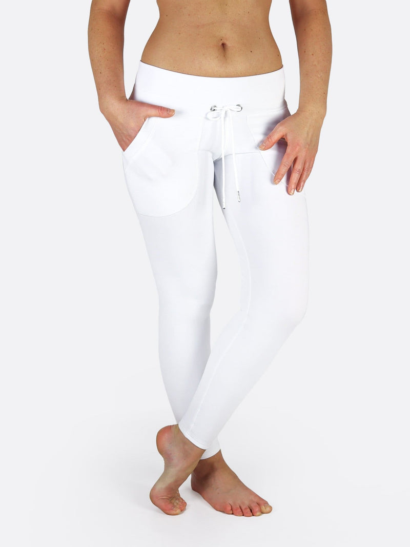 Low Waist White Running Leggings with Drawstring and Pockets - 1