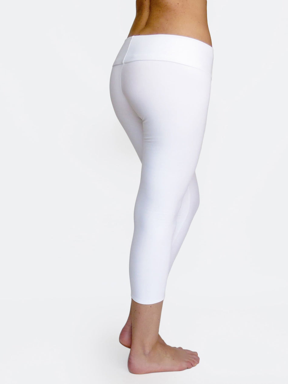 White Capri Women's Low Waist Yoga Pants for Workout - 2