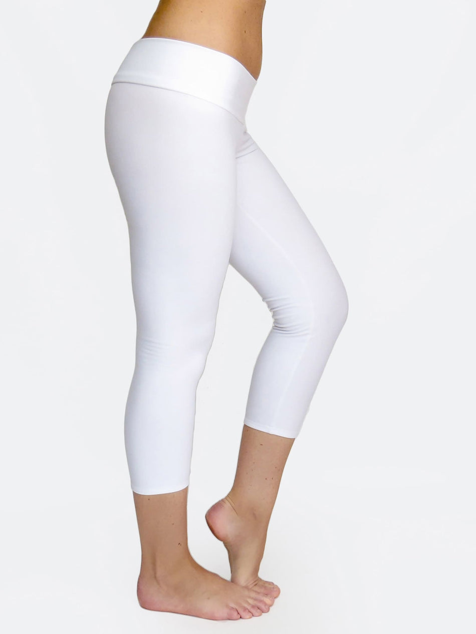 White Capri Women's Low Waist Yoga Pants for Workout - 4