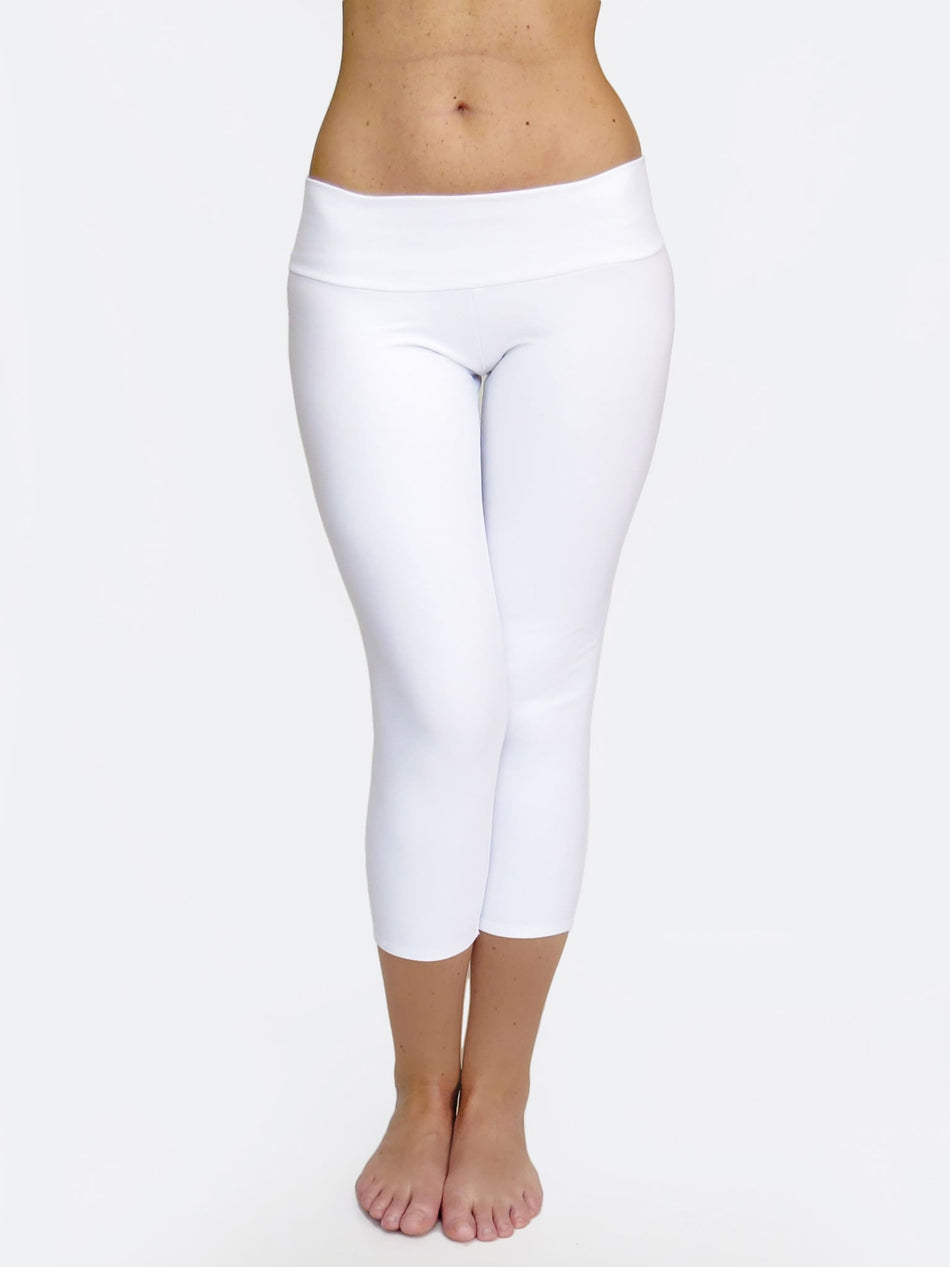 White Capri Women's Low Waist Yoga Pants for Workout - 1