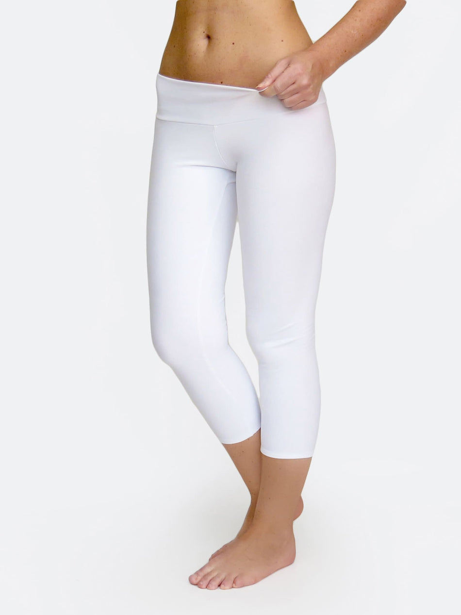 White Capri Women's Low Waist Yoga Pants for Workout - 5