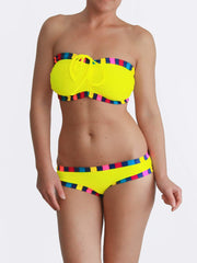 Custom Support Big Bust Bandeau Yellow and Colorful DD/E Cup Bikini - 1