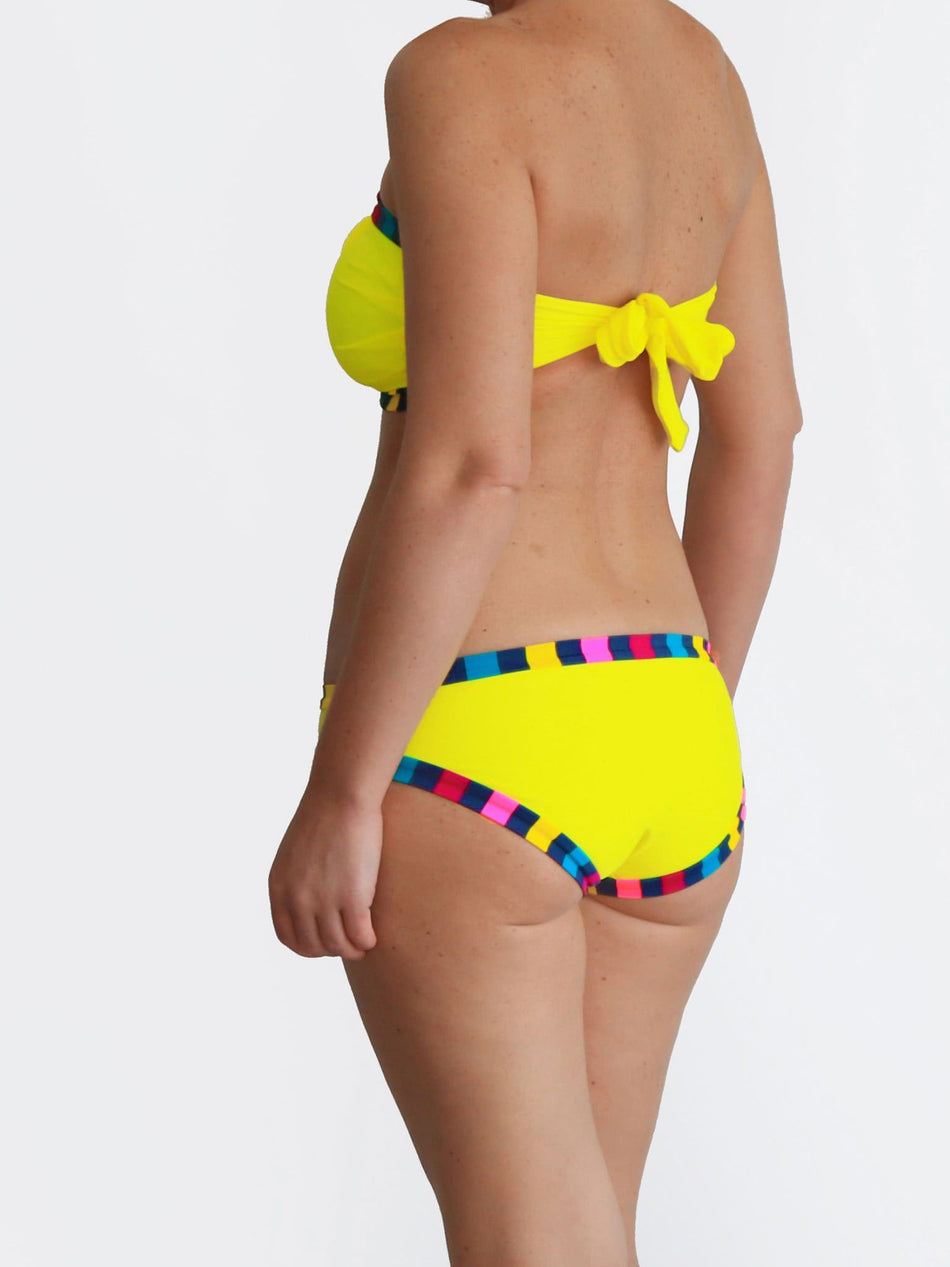Custom Support Big Bust Bandeau Yellow and Colorful DD/E Cup Bikini - 3