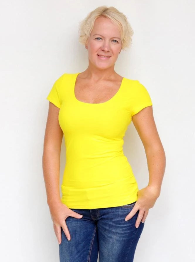 Basic Casual Scoop Neck Yellow Short Sleeve Casual Shirt - 2